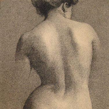 a figure drawing of a woman's back