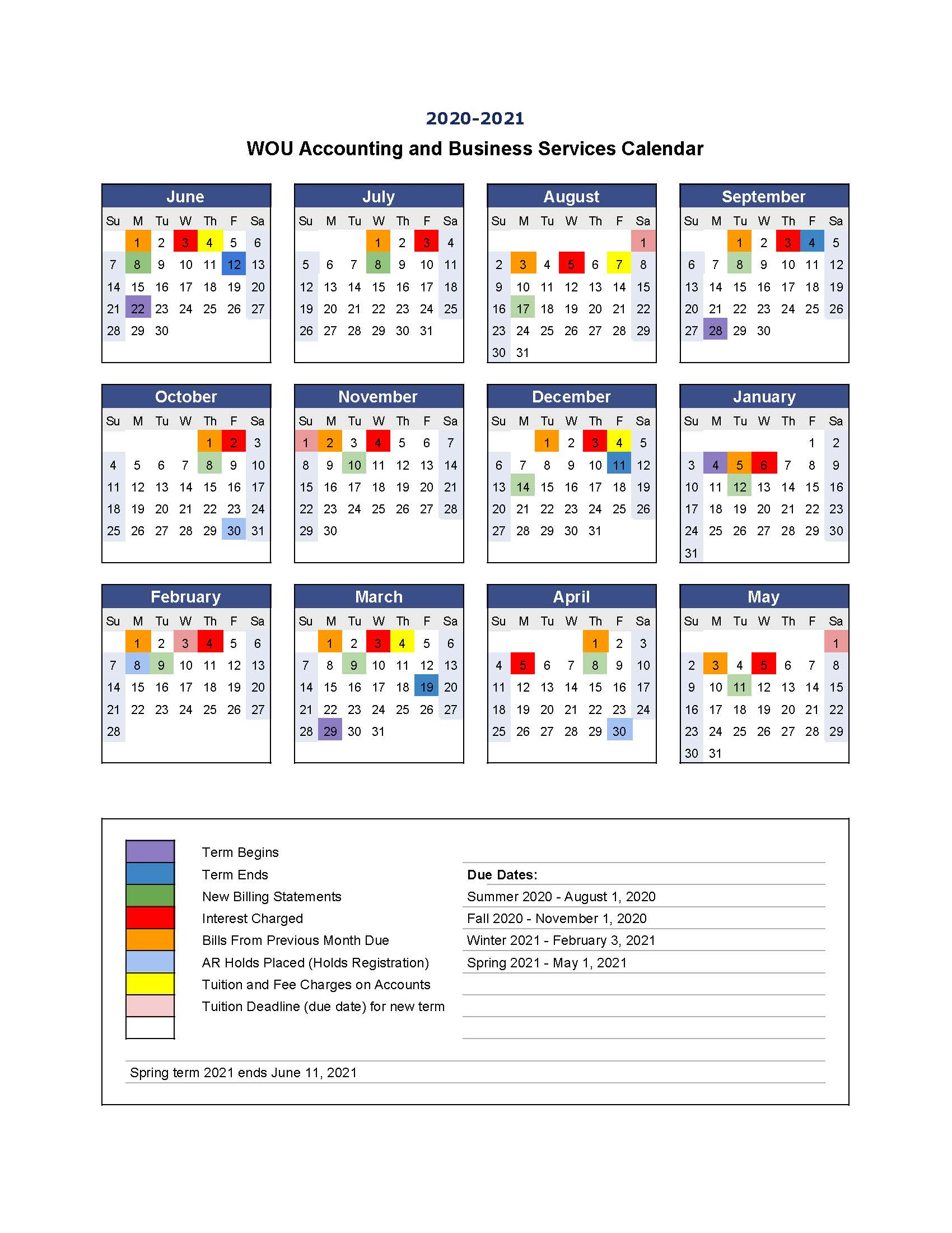 Spring 2022 Calendar.Payment Information Accounting Business Services