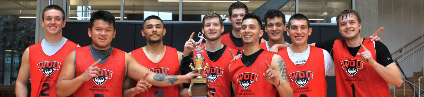 WOU Mens Club Sports Basketball championship team photo