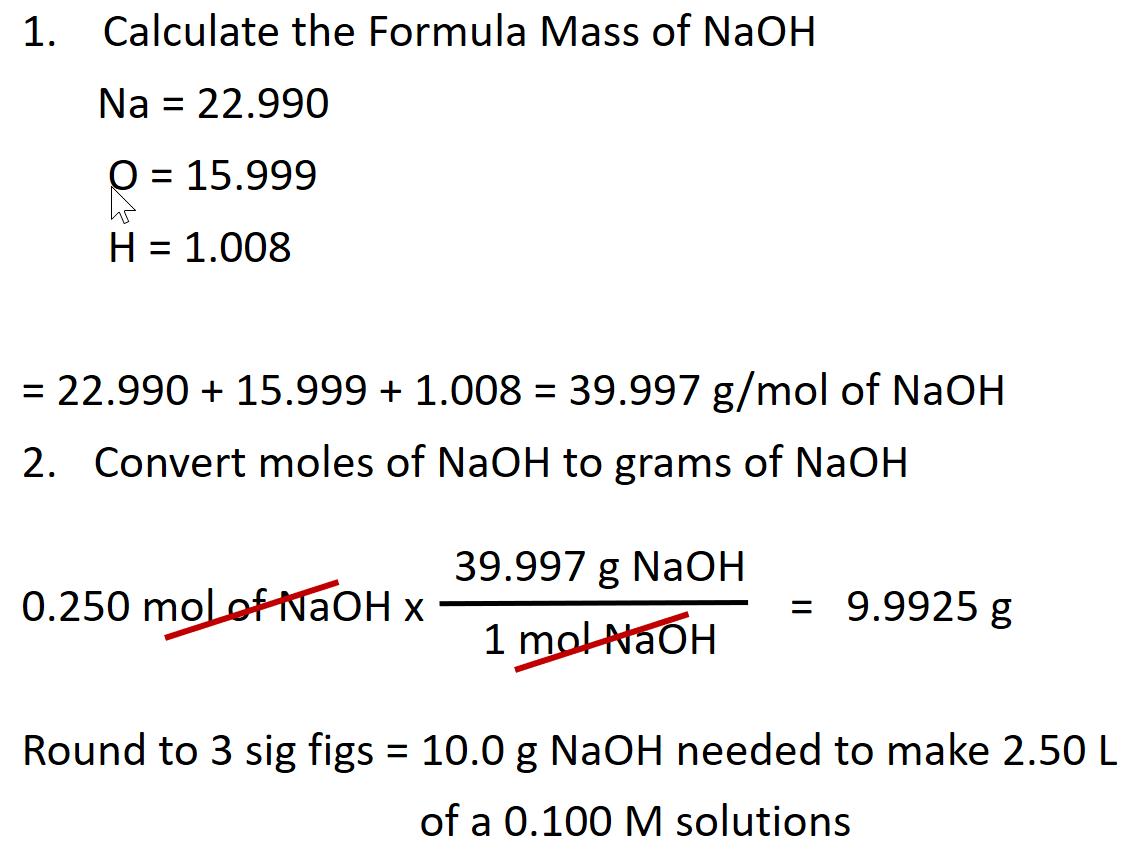 mol to gram conversion - Chemistry