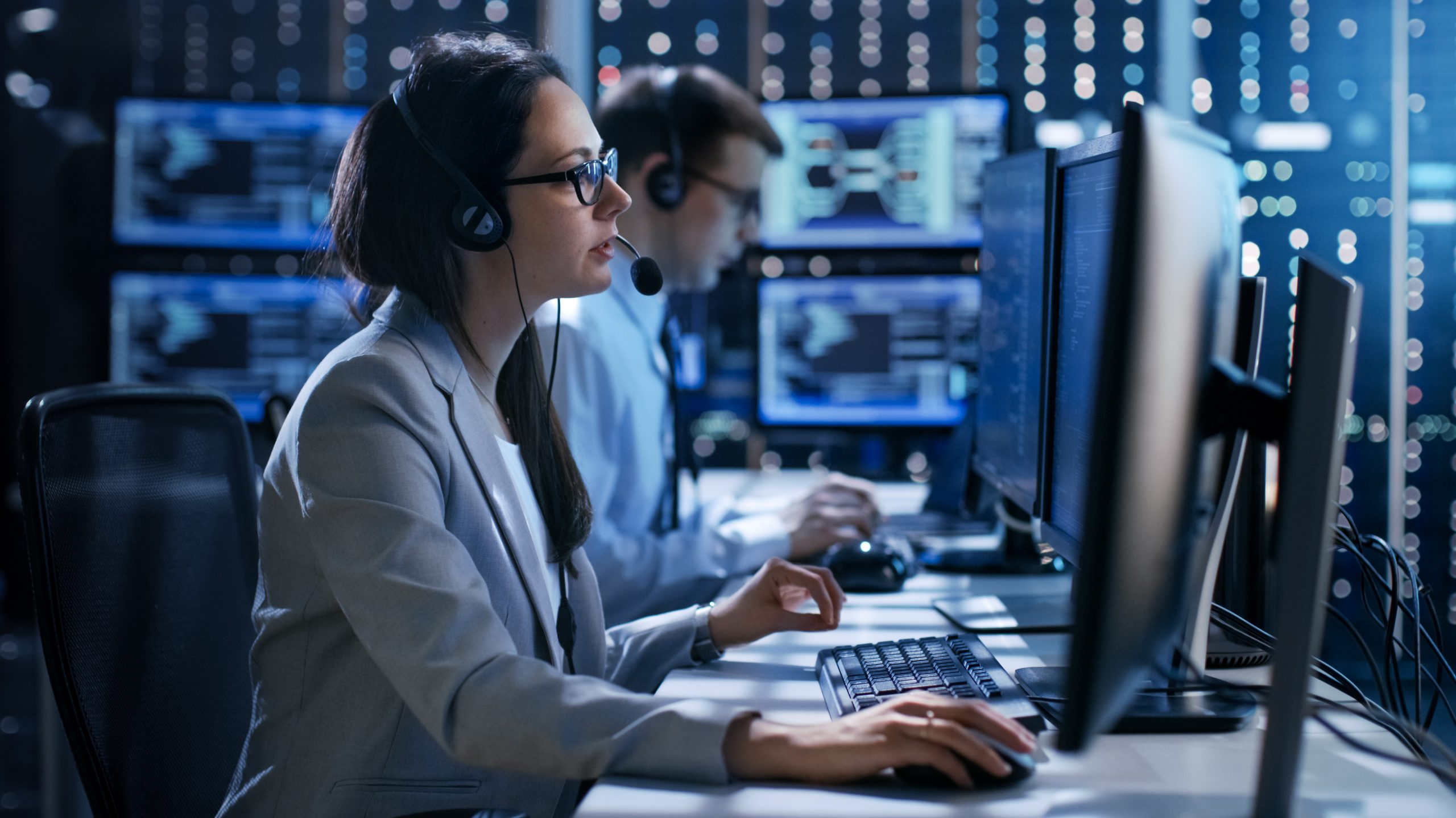 cybersecurity investigator at a workstation