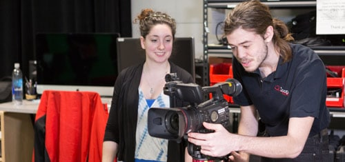 WOU students with a video camera