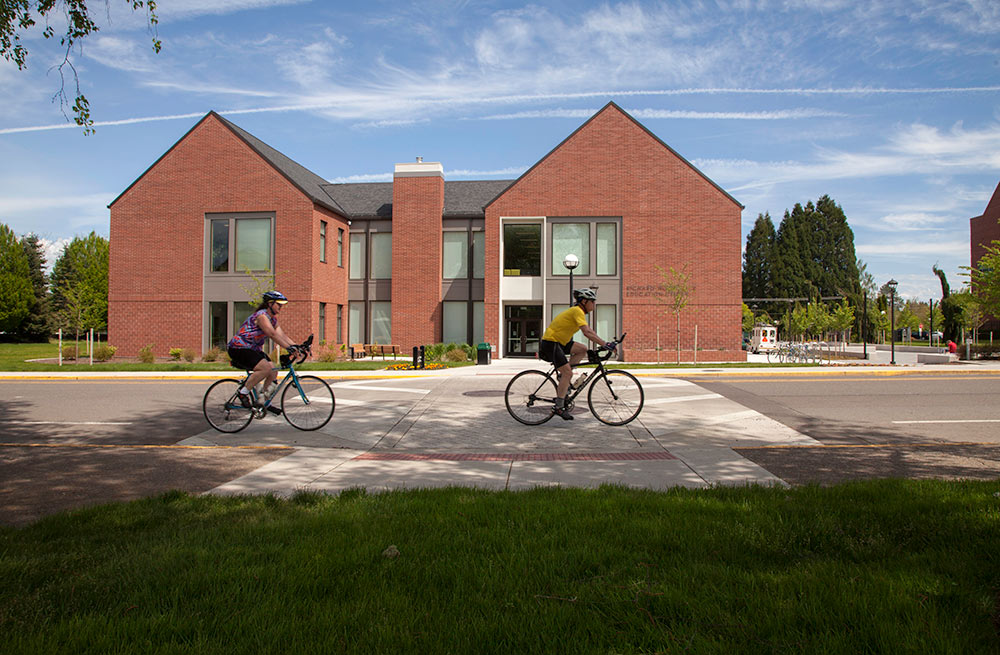 WOU library with bike riders