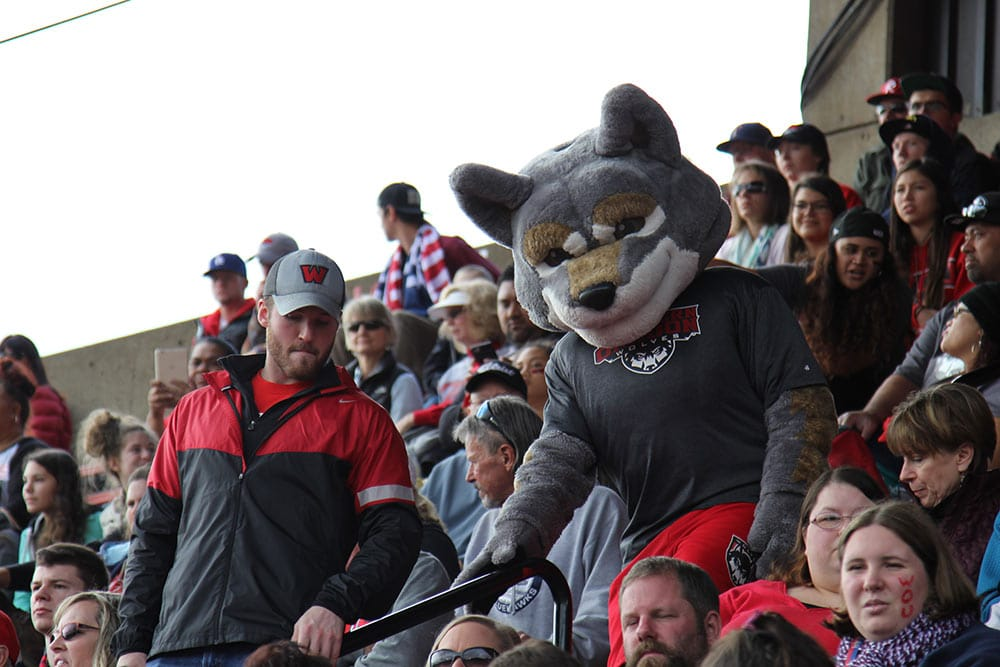 WOU students with Wolfie in the stands at a football game