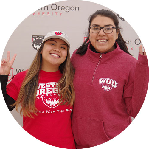 WOU students wearing red