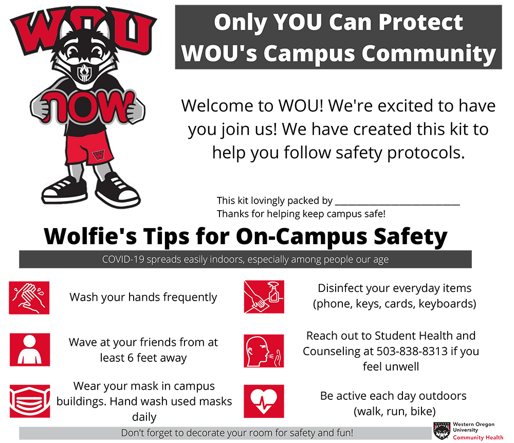 Only YOU can keep WOU's Campus Safe Welcome Kit Postcard