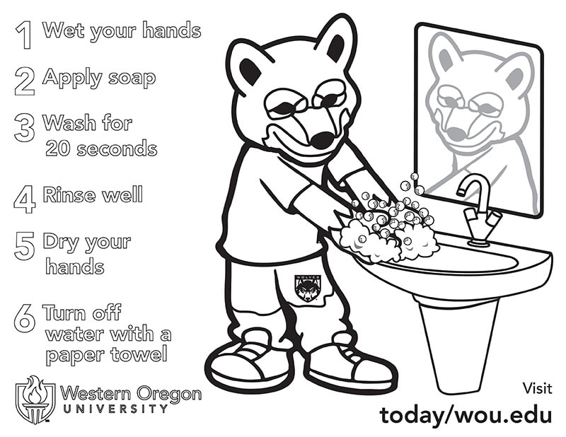 Hand Washing Steps Coloring Page for Kids