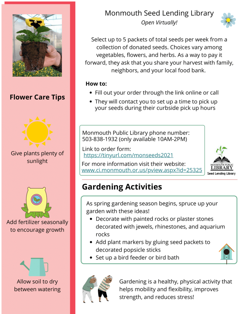Garden Activity & Emergency Info Insert
