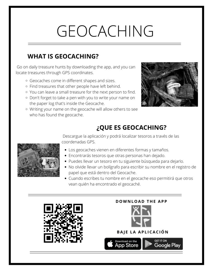 Geocaching Insert (English & Spanish)