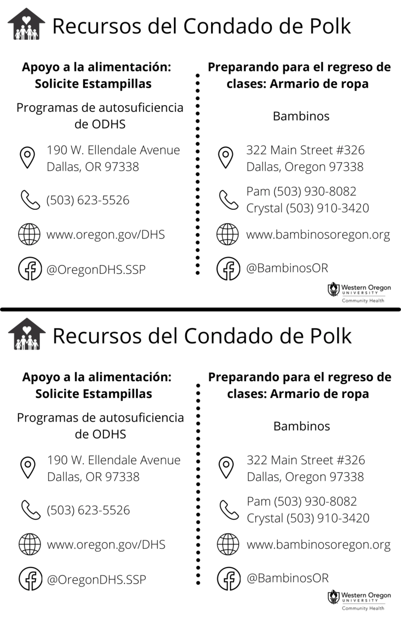 Fall Latinx Family Polk County Resources Handout