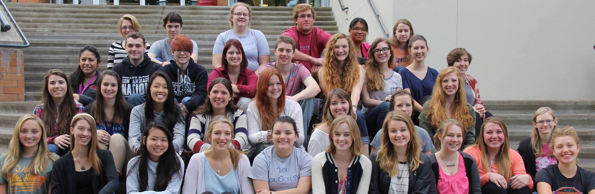 Honors students on the steps