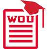 WOU icon with paper and grad hat