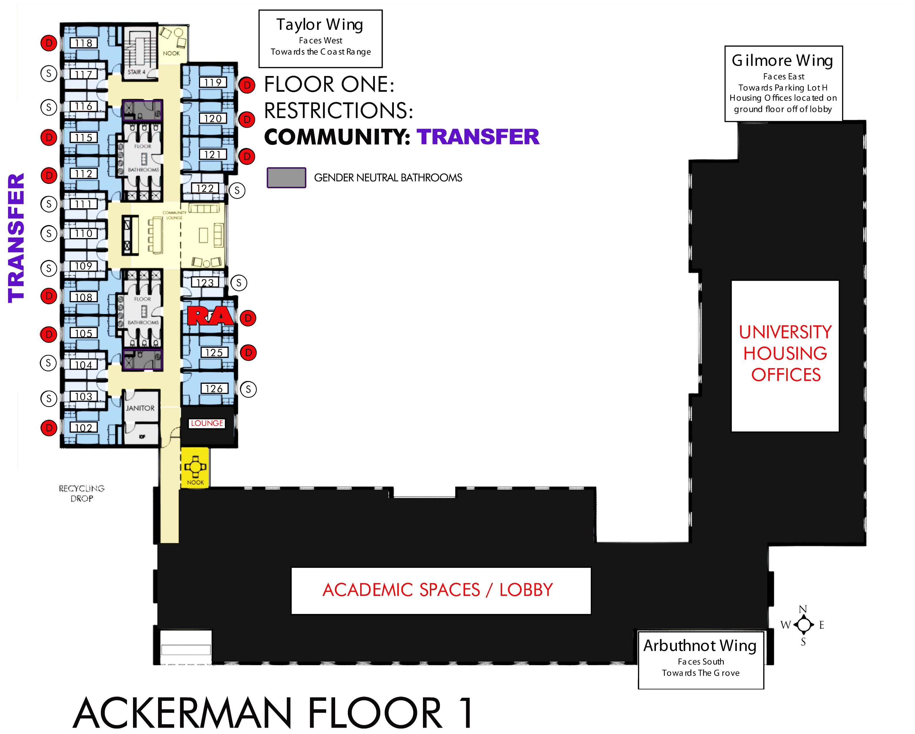 Ackerman Hall Map – Housing and Dining
