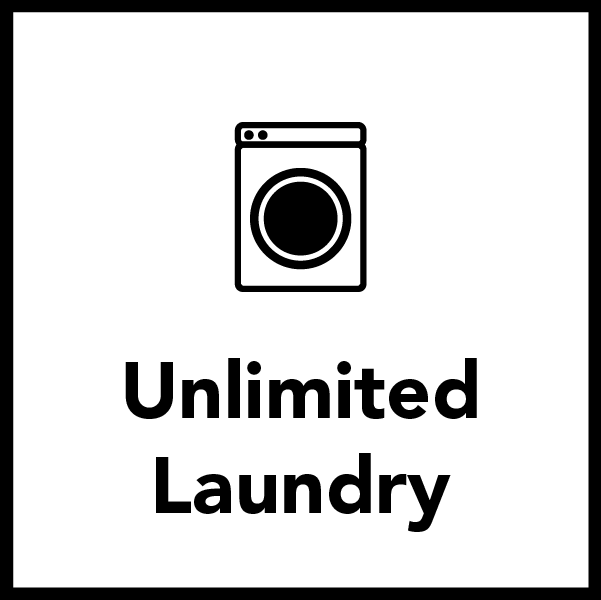 Laundry Fees are included in your Room and Board Fees with no limits on how much laundry you do.
