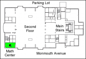 location of Math Center in the library