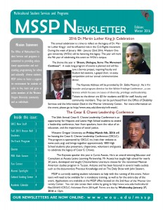 Winter 2016 Newsletter Cover Page