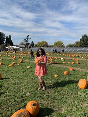 Hannah at the pumpkin patch