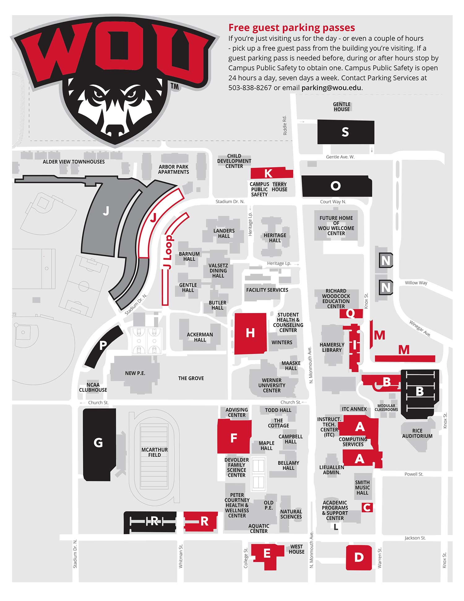 western oregon university campus map Parking Brochure Campus Public Safety western oregon university campus map