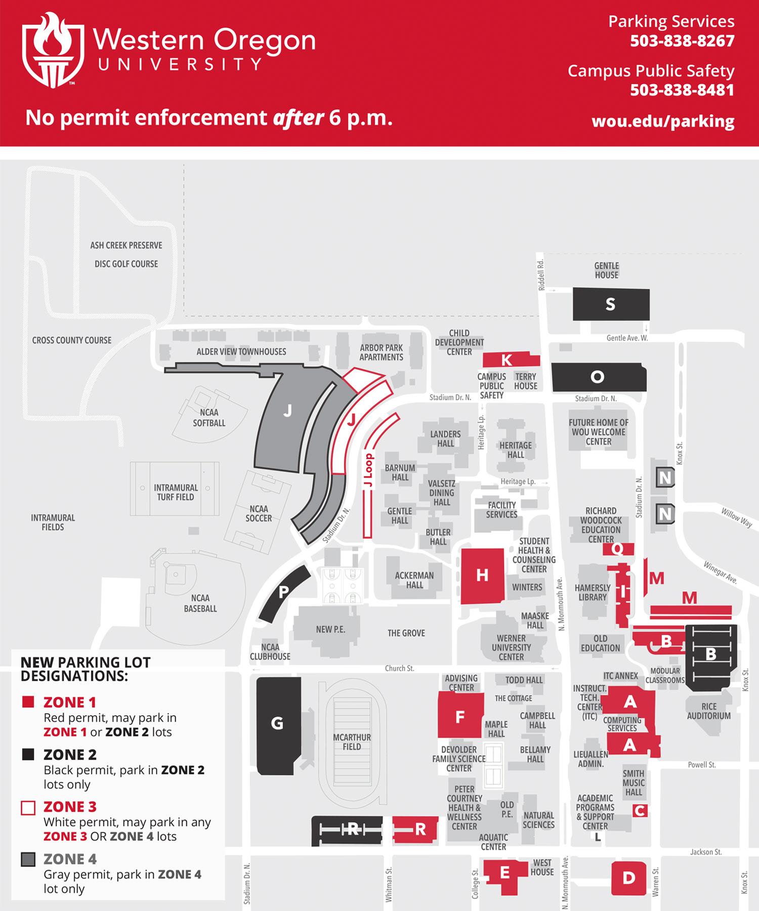 WOU Campus Parking Map