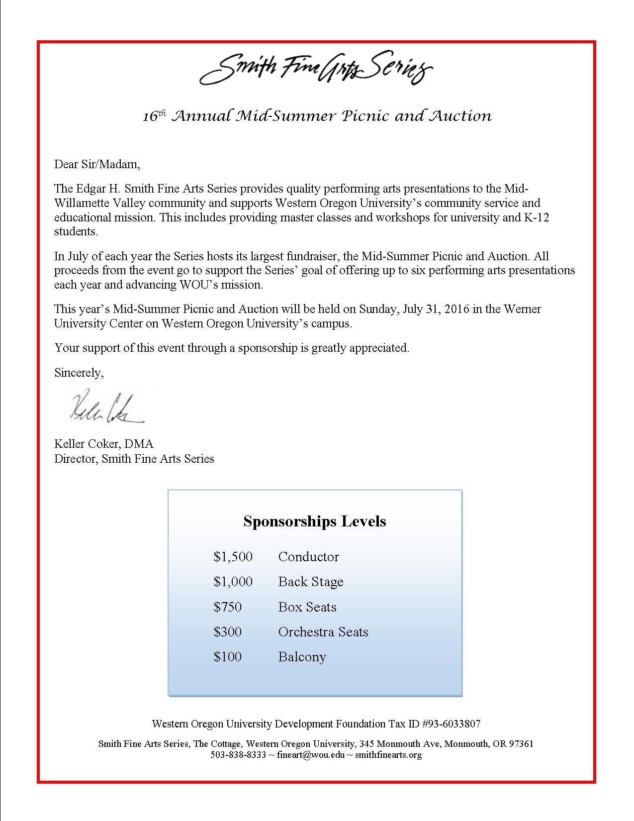 2016 Sponsor Letter