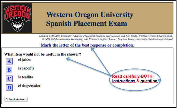 placement test french rh wou edu