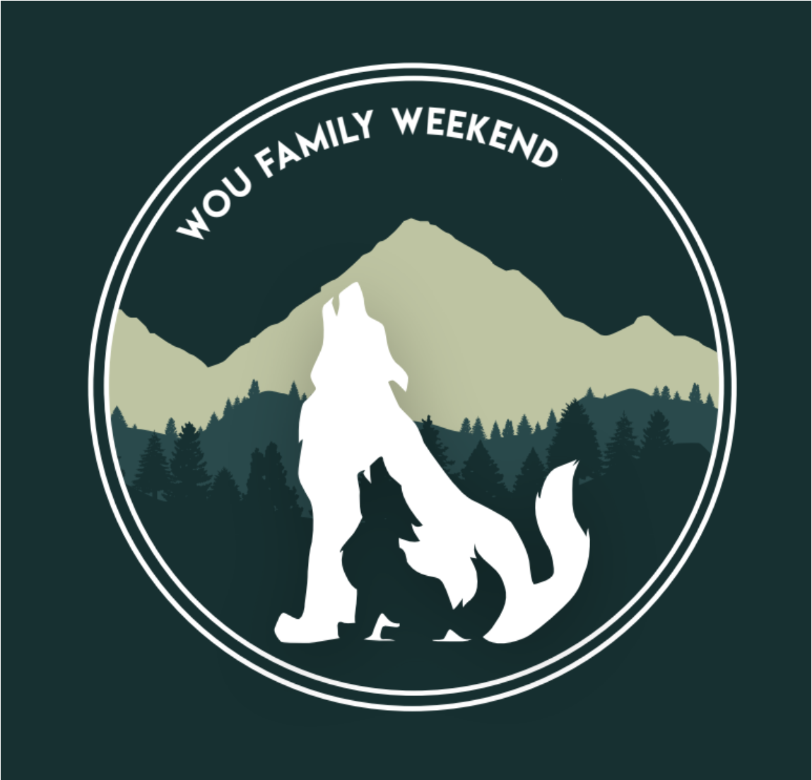 Family Weekend design with wolves, mountains and trees in background