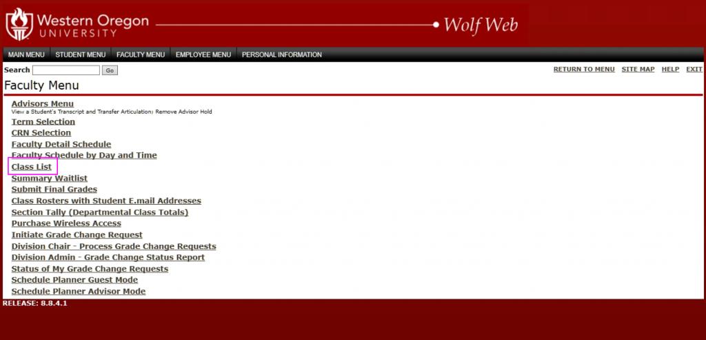Classroom roster screenshot