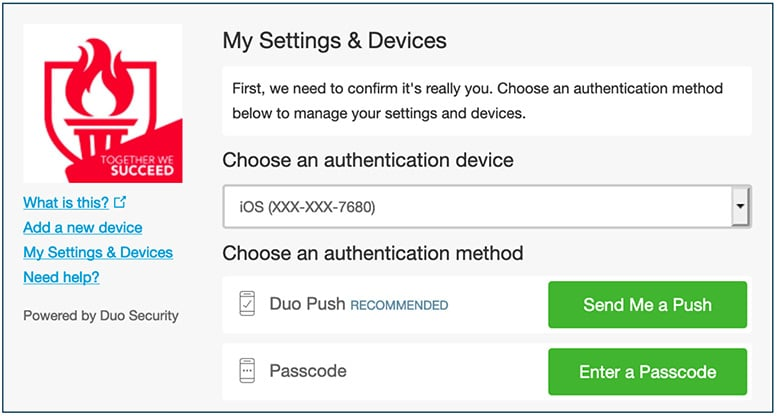 DUO choose an authentication method