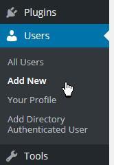Users menu item: Add New