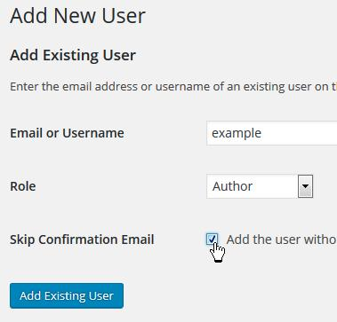Existing user: don't send email notification