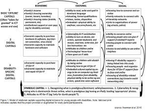 A chart shows the economic, cultural, and social forms of capital offline, online, and specifically related to those with disabilities.