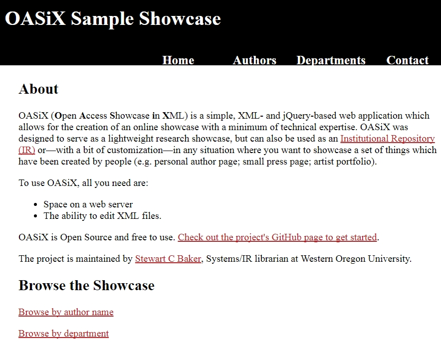 screenshot of a showcase created using OASiX software