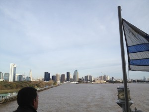 View from the top of the boat as we were leaving Buenos Aires. The Uruguayan flag on the right.