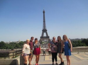 Group shot with the Eiffel Tower