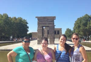 In front of the Temple of Debod in Madrid