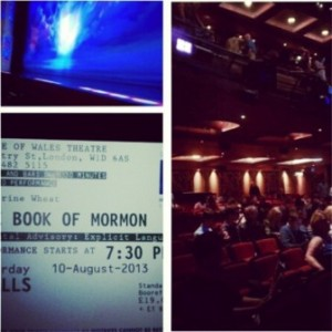 I entered a lottery to win 20 pound book of Mormon tickets and I won! Luckily Molly was nice enough to let me ditch her so I got a front row seat to the play.