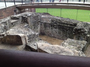 Remains of part of the Roman settlement at the Tower.