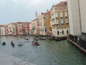 Venice, only way to get around is by boat or walking over bridges.