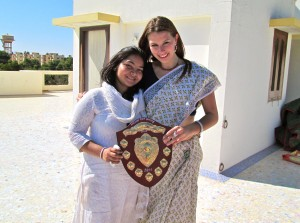 Akanksha and I with our trophy. The master behind the whole plan.