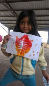 My little friend and her lovely fold painting