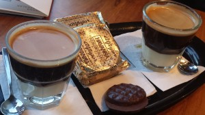 This is a picture of some of the best coffee I have ever had along with some alfajores (pastries).
