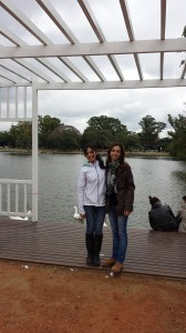 This is a picture of me and my co-worker in los bosques de Palermo.