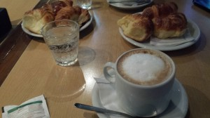 A picture of some coffee and media lunas (bread) that my co-worker and I had at the end of our day Friday.