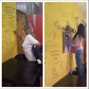 Signing away our names in a restaurant we ate at everyday in Puerto Iguazu.